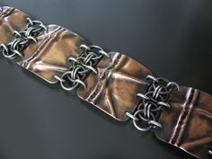 Hammered copper and sterling silver chainmaille by metalandmaille, $210.00
