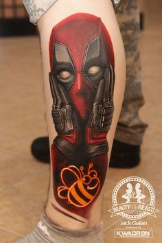 Deadpool tattoo made by polish artist Jack Galan