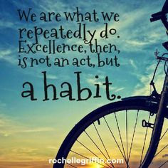 Aristotle got that right. Strive to be excellent daily.