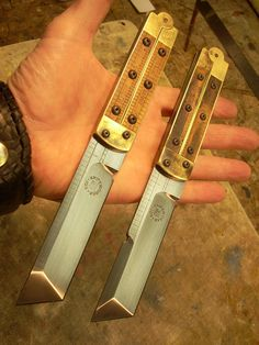 Beautiful custom tanto tip knives
