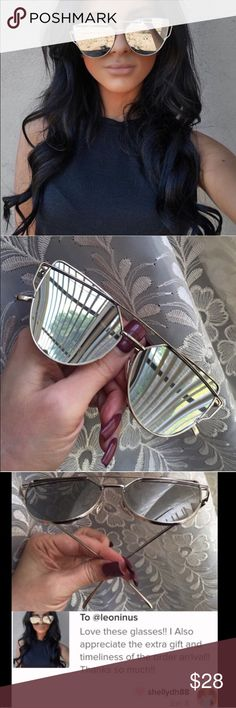 """🏆HOST PICK🏆CASE INCLUDED-Silver/SILVER CrossWire Silver mirror lenses. Silver color frame. Approximately 5 3/4"""" across from outermost angle/outermost angle. Each lens vertically, 2"""". Oversize appearance. Seller not responsible for fit nor comfort. Plastic frames and lenses. Small LENS CLOTH and zipper CASE INCLUDED. Brand new retail w/o tag. I do not model sunglasses. No trades, no off App transactions. 🕶 9 COLORS AVAILABLE IN THIS STYLE😎     🗣 PRICE IS FIRM UNLESS BUNDLED…"""