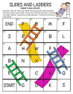 super great free printable slides and ladders game to identify letters (other versions of the game too!)