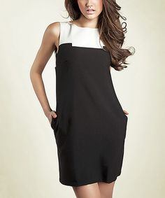 Look what I found on #zulily! Black & White Color Block Sleeveless Shift Dress #zulilyfinds