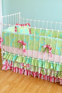Custom Ruffle Crib Bedding  Whimsical Garden by LottieDaBaby, $425.00 IN LOVE WITH THIS