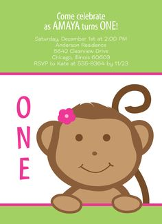 Adorable Girl Monkey - First Birthday Invitation from http://www.invitationcelebration.com