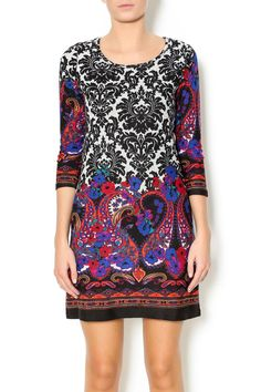 Damask print,paisley border, 3/4 sleeve knit dress. Multicolor. Rounded neckline. Damask Paisley Dress by Papillon. Clothing - Dresses - Printed Colorado