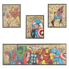 Marvel Superheroes Canvas Art Prints, Set of 4 | Kirklands
