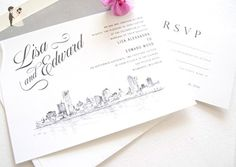 Milwaukee Skyline Wedding Invitations Package (Sold in sets of 10 Invitations, RSVP Cards and Envelopes) - Wedding party invitations (*Amazon Partner-Link)