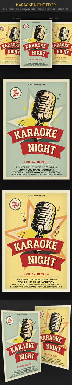 Buy Karaoke Party Flyer Template by on GraphicRiver. Print R. Diy Christmas Videos, Karaoke Party, Flyer Design Inspiration, Flyer Layout, Club Parties, Comedy Show, Party Flyer, Flyer Template, Vintage Posters