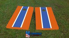 Blue and Orange (Gators) Hand Painted Matching Long Stripe