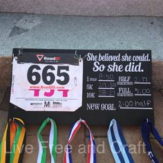 Chalkboard PR Race bib and medal holder by LiveFreeAndCraft, $35.00 (WANT - MH)