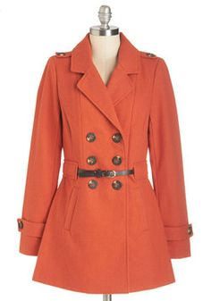 Wild and Dine Coat. After an afternoon hike in the company of this orange coat, you and your sweetheart set off to dinner, drinks, and a movie! #orange #modcloth
