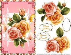 Pink and Yellow Roses on Craftsuprint - View Now! Yellow Roses, Card Making, Tote Bag, Floral, Pink, Cards, Flowers, Totes, Maps