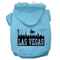 Las Vegas Skyline Screen Print Pet Hoodies Baby Blue Size XXL (18)