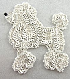 "Poodle Dog With White Sequins Black Nose 4"" x 3.5"""