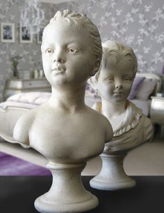 Vintage French Statues, Girl & Boy Bust Sculpture