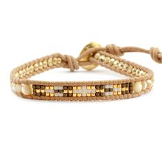 Chan Luu - Natural Mother of Pearl Beaded Mix Single Wrap Bracelet on Beige Leather, $70.00 (http://www.chanluu.com/bracelets/natural-mother-of-pearl-beaded-mix-single-wrap-bracelet-on-beige-leather/)