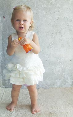 White baby dress felted ivory wool ruffles eco friendly by Baymut, $69.00