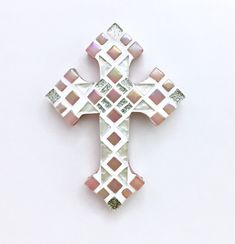 Girls Pink Mosaic Wall Cross, First Communion, Confirmation Gift, Wall Cross for Nursery, Goddaughter Gift, Christening Gift  #1stholycommunion #confirmationgift #christeninggift #firstcommuniongift #baptism #mosaicwallcross #decorativecrosses