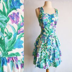 80s Prom, Floral, Vintage Day Dress // 1980s, White, Blue, Green, Purple Print, Women Size Small, Medium