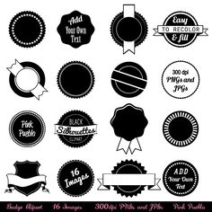 Badge Clipart Clip Art, Use as Stickers, Tags and Labels - Commercial and Personal Use. $6.00 USD, via Etsy.