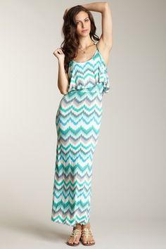 Printed Flounce Top Maxi Dress
