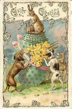 """"""" Hounding The Easter Bunny """" Karodens Vintage Post Cards."""