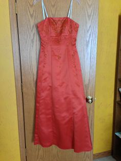 Orange Strapless Prom Dress