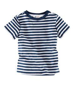 Navy and white stripe t-shirt - H+M kids