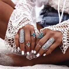 GypsyLovinLight :: Boho jewelry :: Rings, bracelet, necklace, earrings + flash tattoos :: For Gypsy wanderers + Free Spirits :: See more untamed bohemian jewel inspiration @untamedorganica
