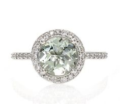 14K Green Amethyst Ring Diamond Halo Engagement Ring White Yellow or Rose Gold Custom Bridal Jewelry