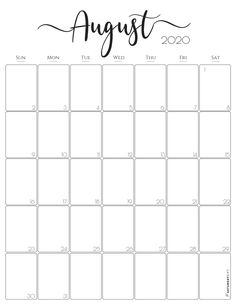 Vertical 2020 Monthly Calendar Free And Pretty Printables