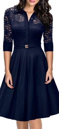Vintage 1950s Style 34 Sleeve Black Lace Flare A-line Dress - Blue