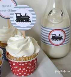 Free Train Party Printables by poofycheeks.com- Fantastic colours for a little boy and so simple to use!
