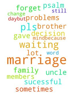 About my marriage -  Dear brother, in my marriage lot of problems. Pls change my uncle mind..because I am waiting for God decision. Because He gave His word psalm 374. But sometimes I forget the day..but still am waiting for my marriage will be sucessful for family members .so pls prayer for my marriage..  Posted at: https://prayerrequest.com/t/C9t #pray #prayer #request #prayerrequest