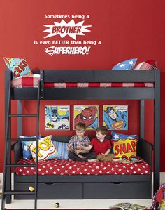 Sometimes being a BROTHER is even better than being a SUPERHERO! - Vinyl wall decal by wildgreenrose.etsy.com
