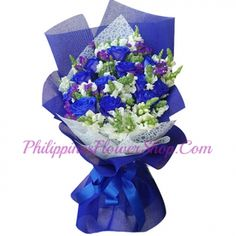 Flowers in purple shades symbolize royalty, success, prosperity, dignity, and pride. Online Flower Shop, Rose Online, Blue Rose Bouquet, Blue Roses, Memorable Gifts, Flower Delivery, Philippines, How To Memorize Things, Pride