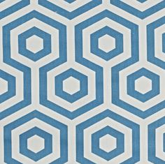 Half a Meter - Turquoise Blue Geometric Hexagonal Home Décor Curtain Fabric