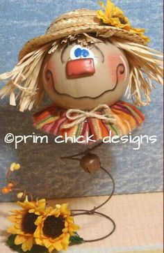 handpainted fall scarecrow gourd primitive jingle by primchick Scarecrow Crafts, Fall Scarecrows, Halloween Scarecrow, Fall Halloween, Halloween Crafts, Bed Spring Crafts, Spring Projects, Fall Crafts, Rusty Bed Springs