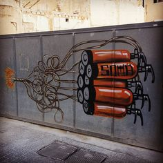 Mallorcan graffiti! These cute little works of art are all over Palma de Mallorca. #palma #palmademallorca #Spain #mallorca #graffiti #graffitiart #bomb #dynamite