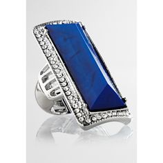 Avenue Animal Embellished Stretch Ring ($10) ❤ liked on Polyvore featuring jewelry, rings, azure blue, plus size, animal print jewelry, cocktail rings, animal rings, blue jewelry and avenue jewelry