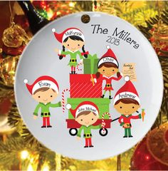 Personalized Christmas Ornaments with Cute Elves and Presents