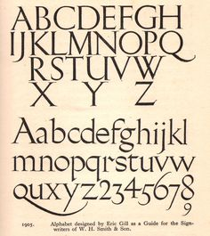 Alphabet designed by Eric Gill for W.H. Smith & Son, 1905