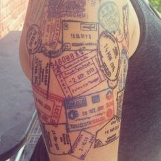 "Detail of the most recently added passport ""stamps"" :) - Tattoo by Rian"