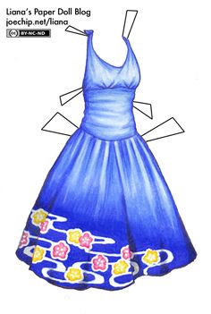 Blue Halter Dress with Yellow and Pink Flower Pattern | Liana's Paper Dolls