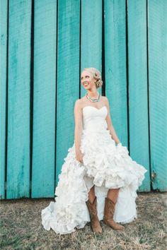 Rustic bride in cowboy boots | JoPhoto | http://burnettsboards.com/2014/01/southern-wedding-fried-chicken-waffles/
