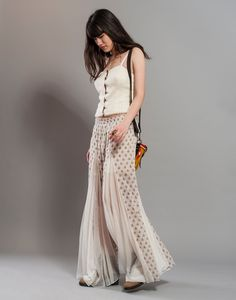 Wide Leg floral Palazzo Pants | ... Wide leg pants with Floral Block Print Indian Cotton and Mesh, Palazzo