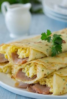 Herb Crepes with Eggs, Swiss, Ham and Browned Butter - Cooking Classy - Recipes for Breakfast and Brunch - Easy Crepe Recipe, Crepe Recipes, Brunch Recipes, Pancake Recipes, Waffle Recipes, Brunch Ideas, Breakfast Crepes, Breakfast Dishes, Breakfast Time