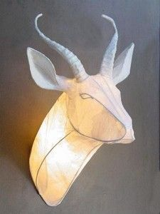Paper mache Springbok Trophy Head light by South African artist Michael Methven.