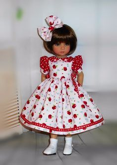 Handmade dress & hair bow compatible with Dianna Effner 13 little darling doll